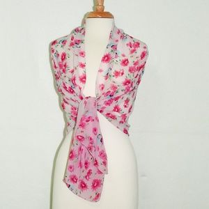 Accessories - Long Floral Pink Women Scarf